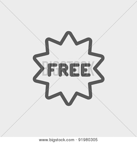 Free tag icon thin line for web and mobile, modern minimalistic flat design. Vector dark grey icon on light grey background.