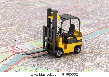 Cargo Delivery Concept. Forklift Over Map