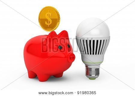 Piggy Bank With Light Bulb And Golden Coin