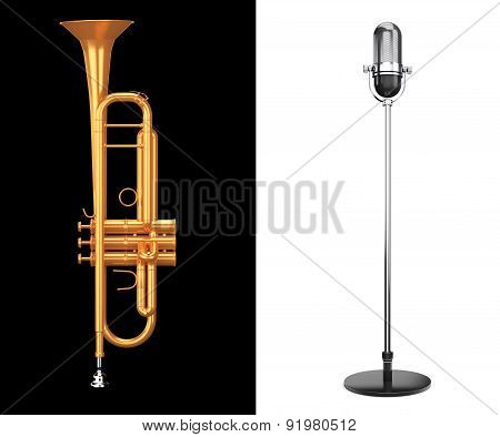 Brass Trumpet With Silver Microphone