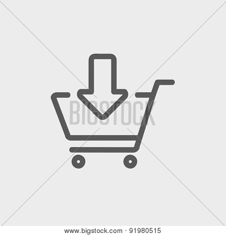 Remove from shopping cart icon thin line for web and mobile, modern minimalistic flat design. Vector dark grey icon on light grey background.