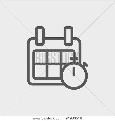 Calendar and stopwatch icon thin line for web and mobile, modern minimalistic flat design. Vector dark grey icon on light grey background.
