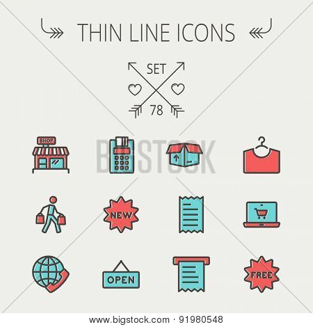 Business shopping thin line icon set for web and mobile. Set includes - electronic calculator, new tag, open sign, box, paper towel, shop, internet shopping, free tag   icons. Modern minimalistic flat