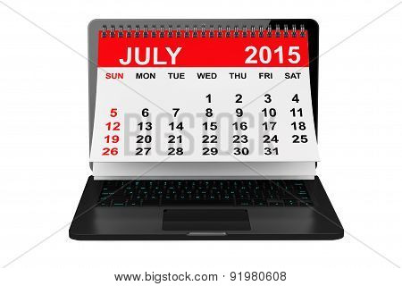 July 2015 Calendar Over Laptop Screen