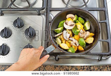 Frying Vegetables In Fry Pan