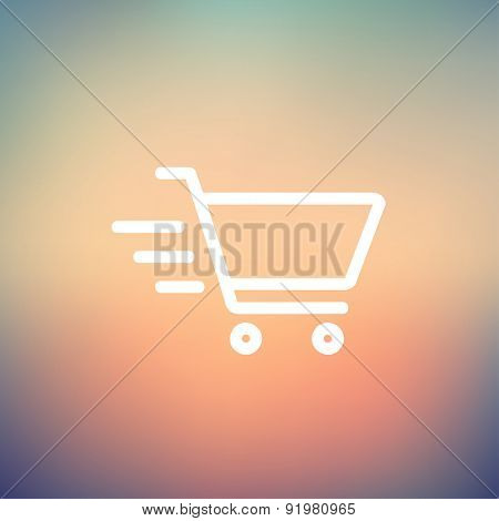Fast delivery shopping cart icon thin line for web and mobile, modern minimalistic flat design. Vector white icon on gradient mesh background.