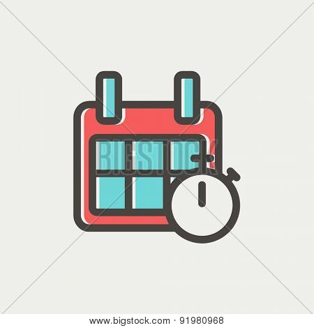 Calendar and stopwatch icon thin line for web and mobile, modern minimalistic flat design. Vector icon with dark grey outline and offset colour on light grey background.