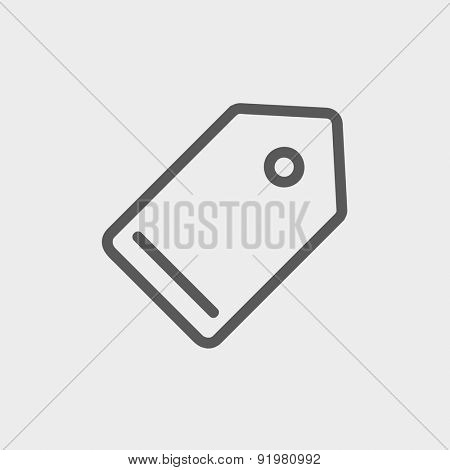 Empty tag icon thin line for web and mobile, modern minimalistic flat design. Vector dark grey icon on light grey background.