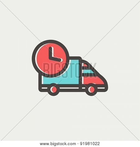 On time delivery icon thin line for web and mobile, modern minimalistic flat design. Vector icon with dark grey outline and offset colour on light grey background.