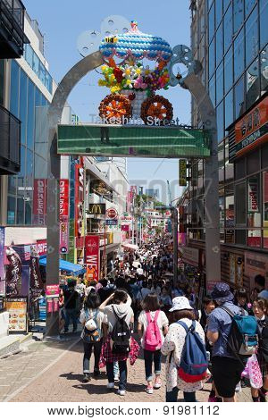 Locals and tourists walking at Harajuku's Takeshita street