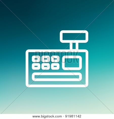 Cash register machine icon thin line for web and mobile, modern minimalistic flat design. Vector white icon on gradient mesh background.