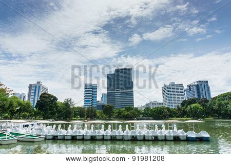 Row Boat For Rent In The Park, Bangkok Thailand