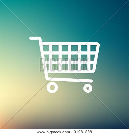 Shopping cart icon thin line for web and mobile, modern minimalistic flat design. Vector white icon on gradient mesh background.
