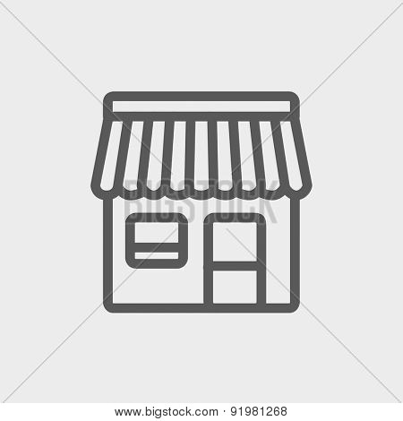 Store stall icon thin line for web and mobile, modern minimalistic flat design. Vector dark grey icon on light grey background.