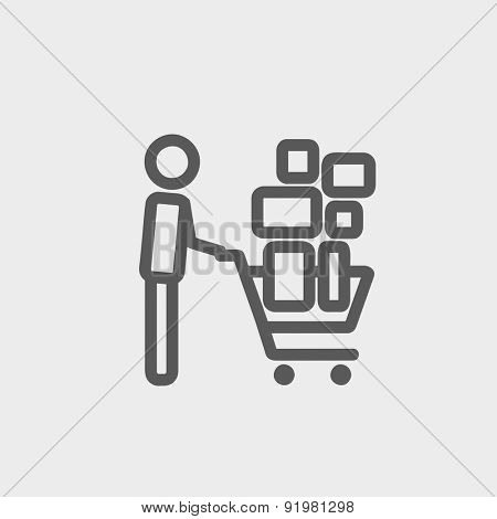 Shopping cart full of shopping bags icon thin line for web and mobile, modern minimalistic flat design. Vector dark grey icon on light grey background.
