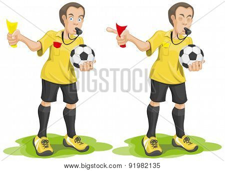 Set soccer referee whistles and shows card.