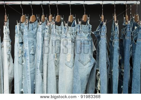 blue jeans on rack