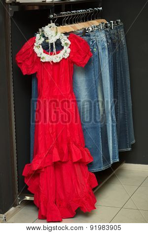 red dress on a hanger