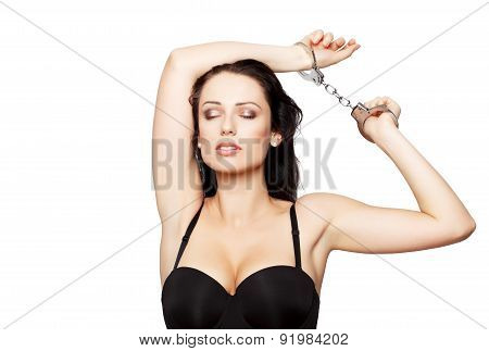 Sexy Woman With Handcuffs Dreaming Isolated