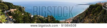 Panorama of Taromina city coast with Giardini Naxos in Sicily