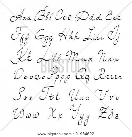 Hand written alphabet, vector