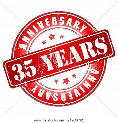 35 years anniversary red stamp.