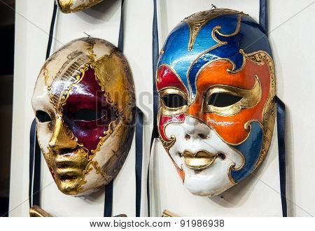 Close Up View Of Two Venetian Carnival Masks