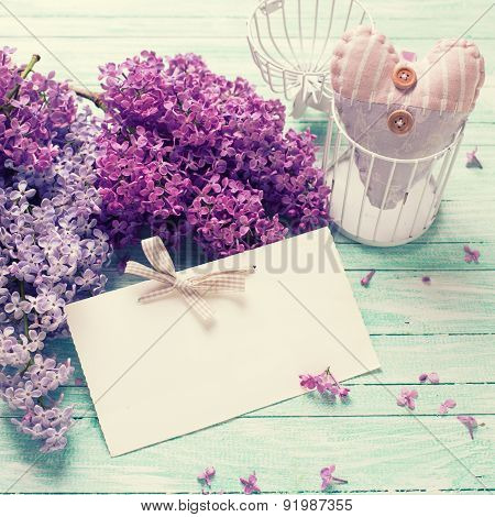 Background With  Lilac Flowers ,  Decorative Heart And Tag