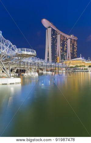 Helix Bridge, Singapore landmark during twilight