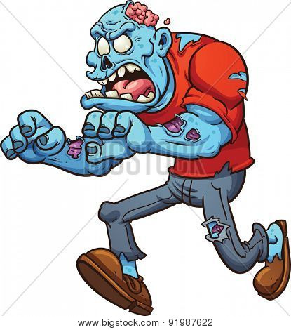 Cartoon running zombie. Vector clip art illustration with simple gradients. All in single layer.