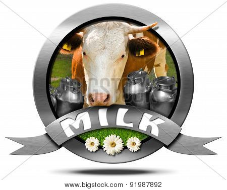 Milk - Metal Icon With Cow And Cans