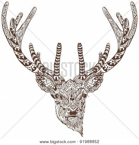 Antlered deer. Graphic drawing tattoo