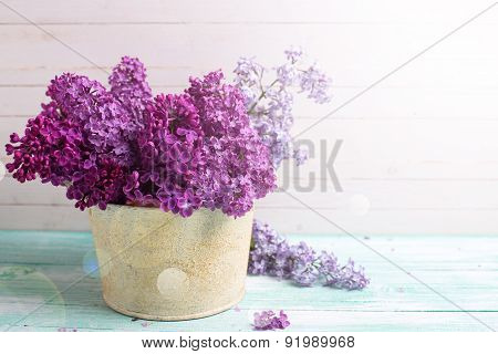 Background With  Lilac Flowers In Bowl