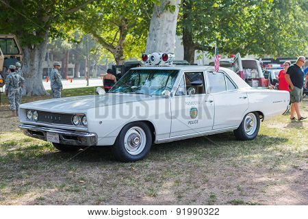 Vintage Dodge Coronet Police Car On Display