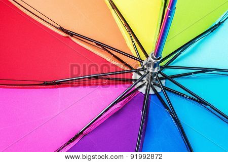 Colorful Close Up Abstract Of Rainbow Umbrella