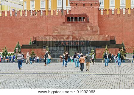 Lenin's Mausoleum On Red Square, Landmark, Tourists Strolling On The Square