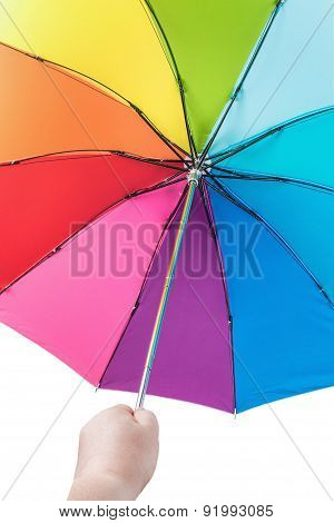 Rainbow Umbrella In Woman Hands Isolated On White Background