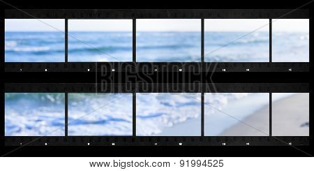 contact sheets of film photography print with panoramic sea defocused