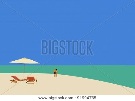 Couple Strolling On A Tropical Beach 02