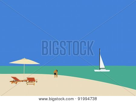 Couple Strolling On A Tropical Beach 03