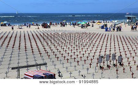 Memorial Cemetary On Santa Monica Beach, California