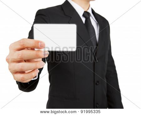 Businessman Holding Paper Or Visit Card Isolated On White Background.