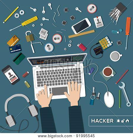 hacker top view