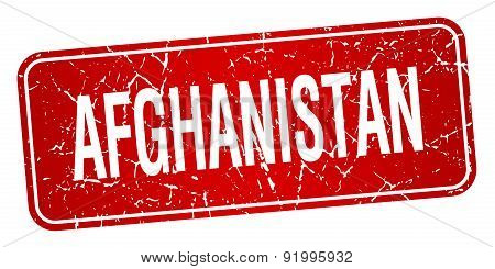 Afghanistan Red Stamp Isolated On White Background