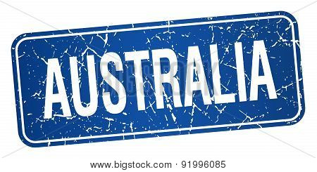 Australia Blue Stamp Isolated On White Background
