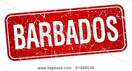Barbados Red Stamp Isolated On White Background