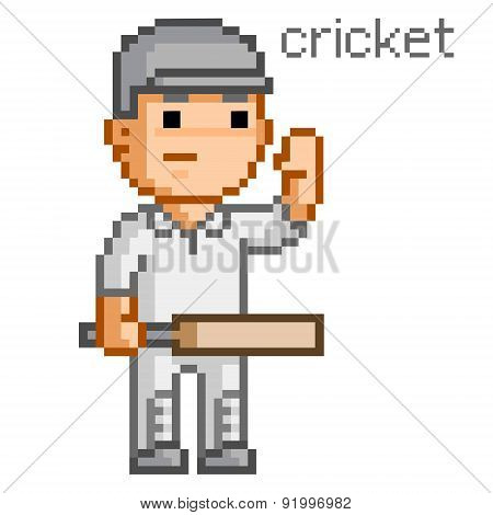 Pixel cricket player 8 bit