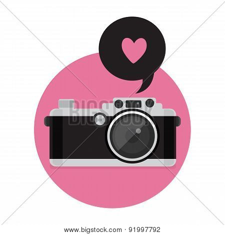 Retro Camera Icon. Vector Illustration. Flat Style.