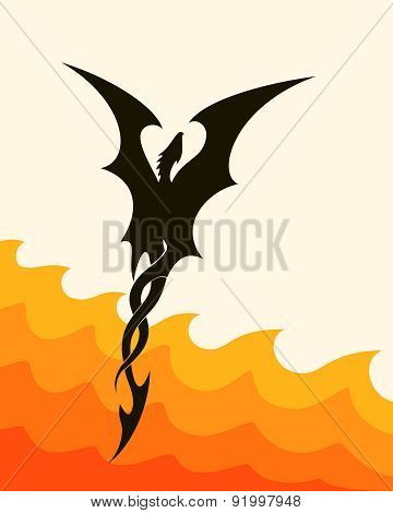 abstract silhouette of a flying dragon