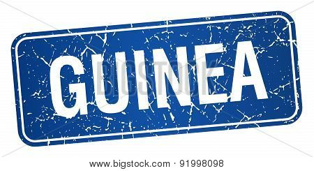 Guinea Blue Stamp Isolated On White Background